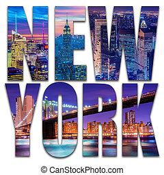 nouveau, photo, york, nuit