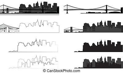 nouveau, silhouette, york, ville