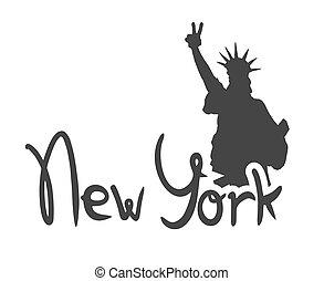 nouveau, symbole, ville, york