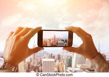 nouveau, ville, capturer, york