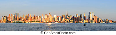 nouveau, ville, coucher soleil, manhattan, york