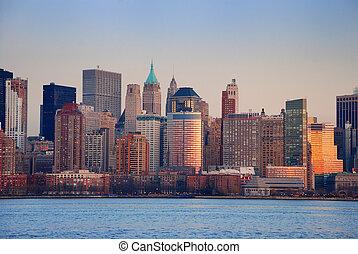 nouveau, ville, coucher soleil, york