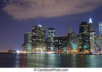 nouveau, ville, york, nuit