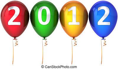 nouvel an, ballons, fête, 2012