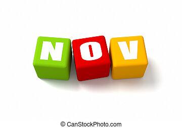 novembre, cubes, coloré