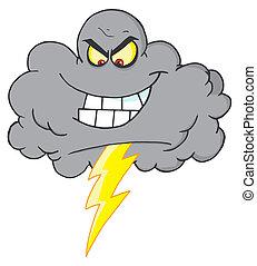 nuage, coup foudre, orage