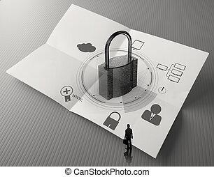 nuage, diagramme, chiffonné, sécurité, business, papier, réseau, internet, cadenas, ligne, concept