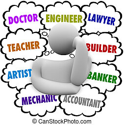 nuages, carrière, choix, pensée, penseur, demander, occupation
