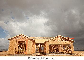 nuages, résumé, site, construction, maison, inquiétant