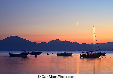 nuit, bateaux, mer