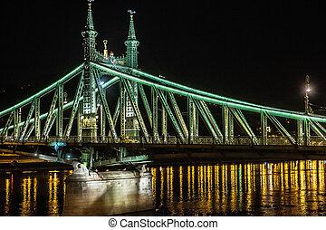 nuit, budapest, -, hongrie, pont, liberté