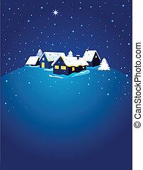 nuit, carte, neige, noël, ville