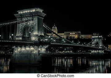 nuit, chaîne, budapest, -, hongrie, pont