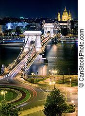 nuit, chaîne, stephen, pont budapest, basilique