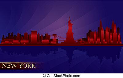nuit, détaillé, horizon, ville, york, nouveau, silhouette