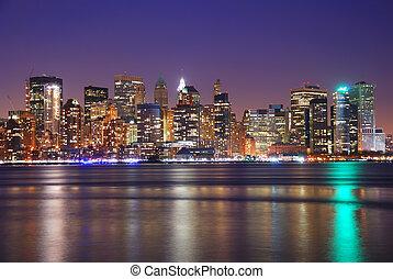 nuit, en ville, ville, york, nouveau