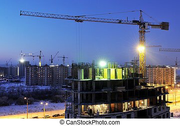 nuit, grue, site construction, chargeur