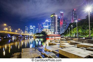 nuit, horizon, singapour