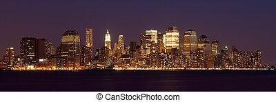 nuit, manhattan, panoramique, -, vue, horizon, york, nouveau