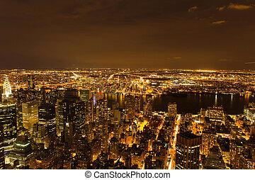 nuit, nouveau, ville, york