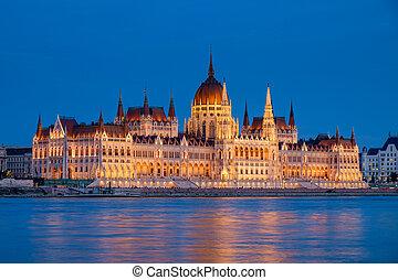 nuit, parlement, hongrie, budapest