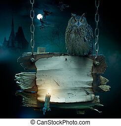 nuit sorcières parti, fond, conception