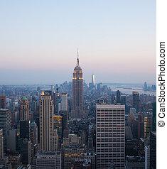 nuit, vue, york, nouveau, aérien, horizon manhattan