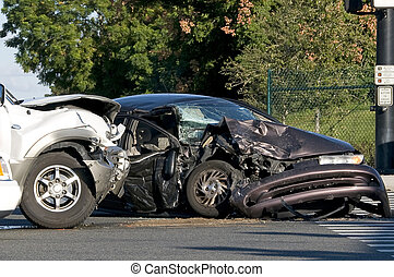 occupé, intersection, accident, deux, véhicule