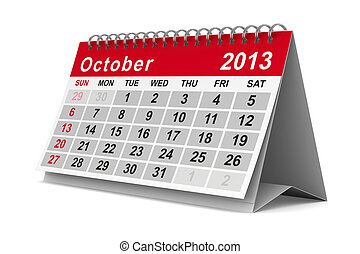 october., isolé, calendar., année, image, 2013, 3d