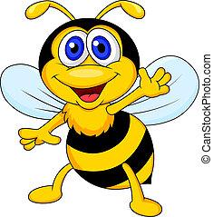 onduler, rigolote, dessin animé, abeille
