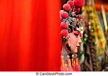 opéra, factice, cantonese, texte, espace