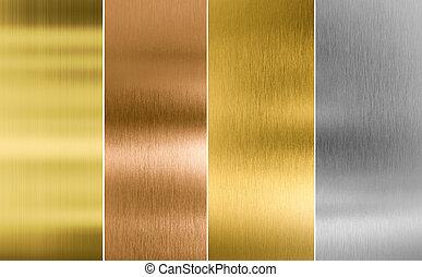 or, cousu, arrière-plans, métal, texture, argent, bronze