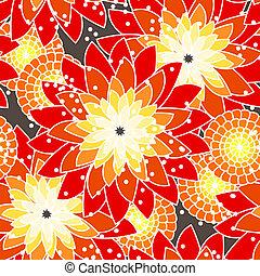 orange, modèle, fleur, seamless, tonalités