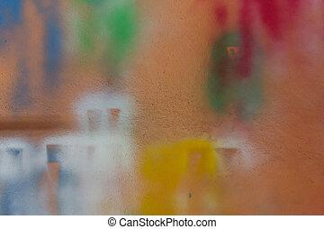 orange, peinture, pulvérisation, wall.