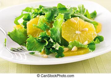orange, salade