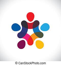 ou, communauté, coloré, jouer, aussi, cercles, tenue, friendship-, ouvriers, solidarité, vecteur, &, mains, graphic., boîte, union, unité, gosses, ceci, illustration, ensemble, représenter, concept, etc