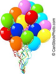 ou, fête, célébration anniversaire, ballons