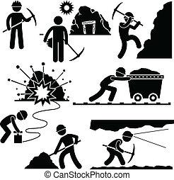 ouvrier, exploitation minière, main-d'œuvre, mineur, gens