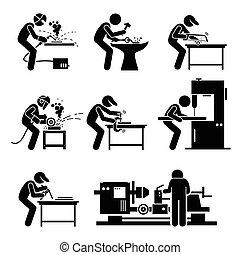 ouvrier, metalworking, acier, soudeur