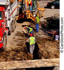 ouvriers, construction, creuser