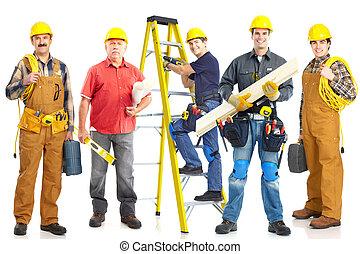 ouvriers, industriel, group.