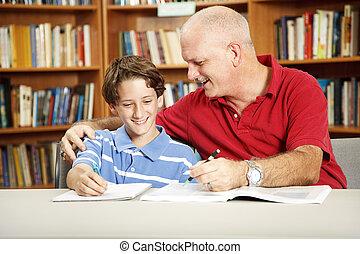 père, fils, bibliothèque
