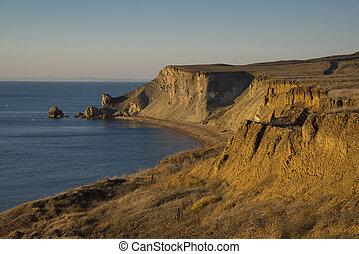 péninsule, paysage, mer, taman