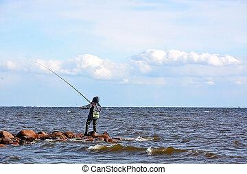 pêcheur, mer