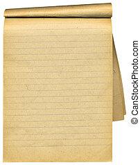 pages., vieux, sur, vide, cahier, lambeaux, blanc