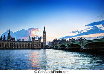 palais, grand ben, westminster, uk., coucher soleil, londres
