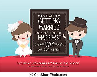 palefrenier, invitation, mariée, planche, mariage, dessin animé