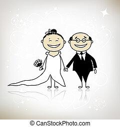 palefrenier, ton, mariage, -, cérémonie, ensemble, conception, mariée