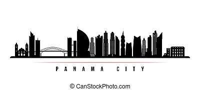 panama, horizon, banner., ville, horizontal
