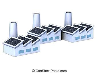 panneaux, factorys, solaire
